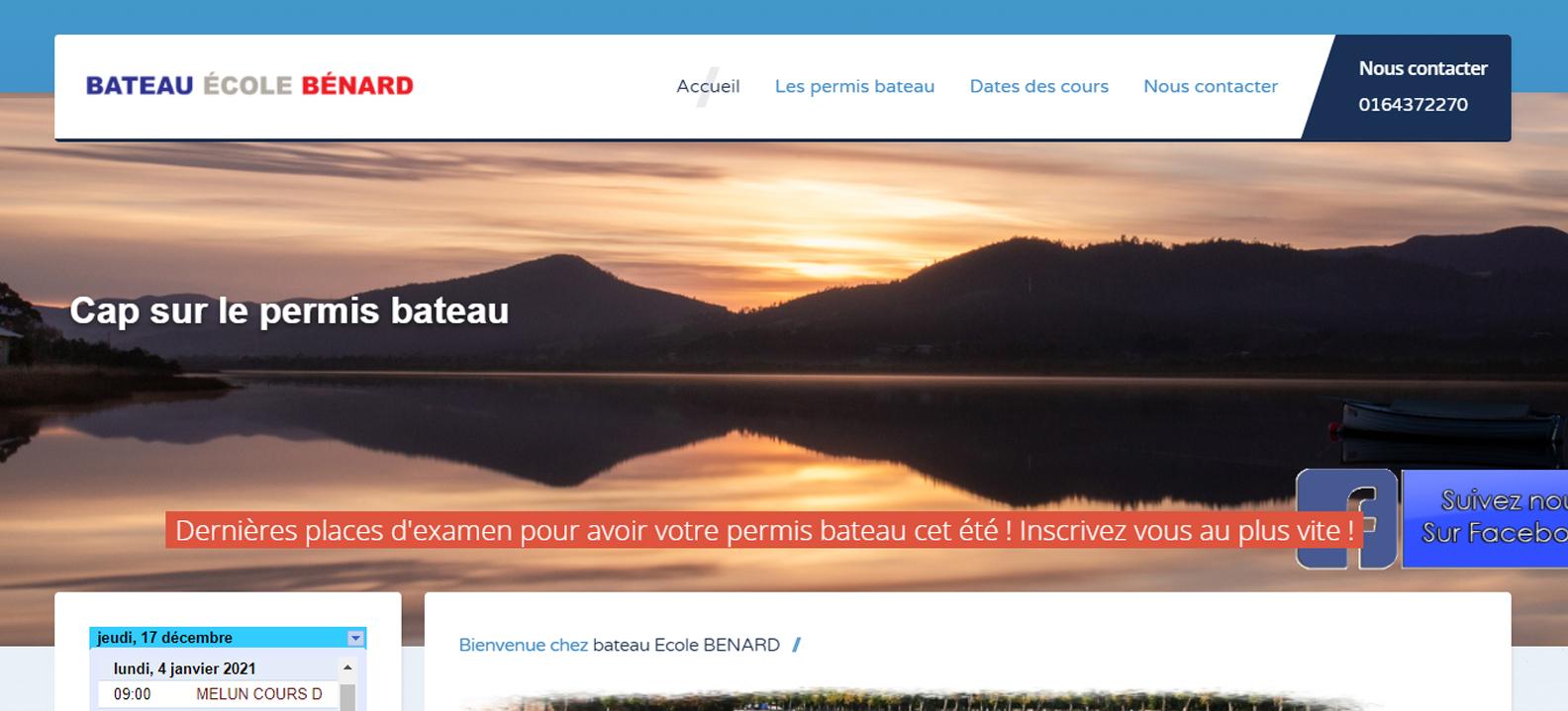 Site internet Bateau école Benard
